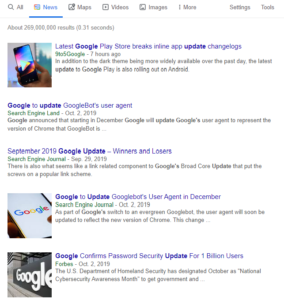 Google news feed shows recent news articles about Google