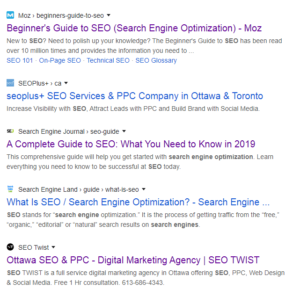 Google search result does not show sites' URL