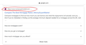 How Google search results used to look with URLs