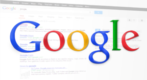 Google's logo floats over a graphic of a web browser.