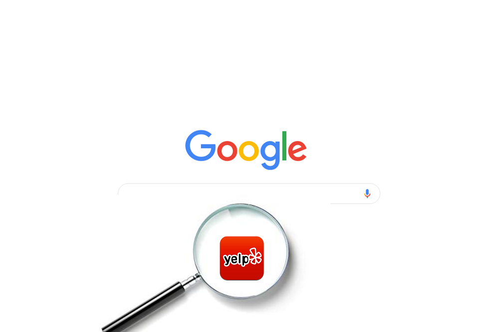 yelp logo under google search bar
