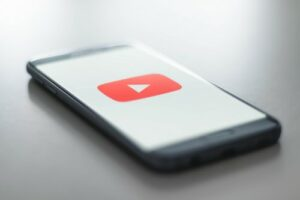 smartphone showing youtube logo