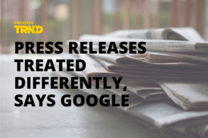 """Newspapers with text overlay that says """"Press Releases Treated Differently, Says Googe"""""""
