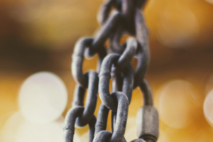 Chain links on yellow background